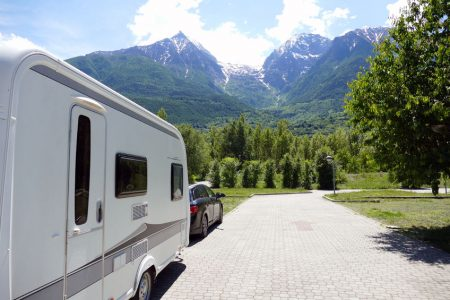 44246800 - holiday in the mountains with the caravan